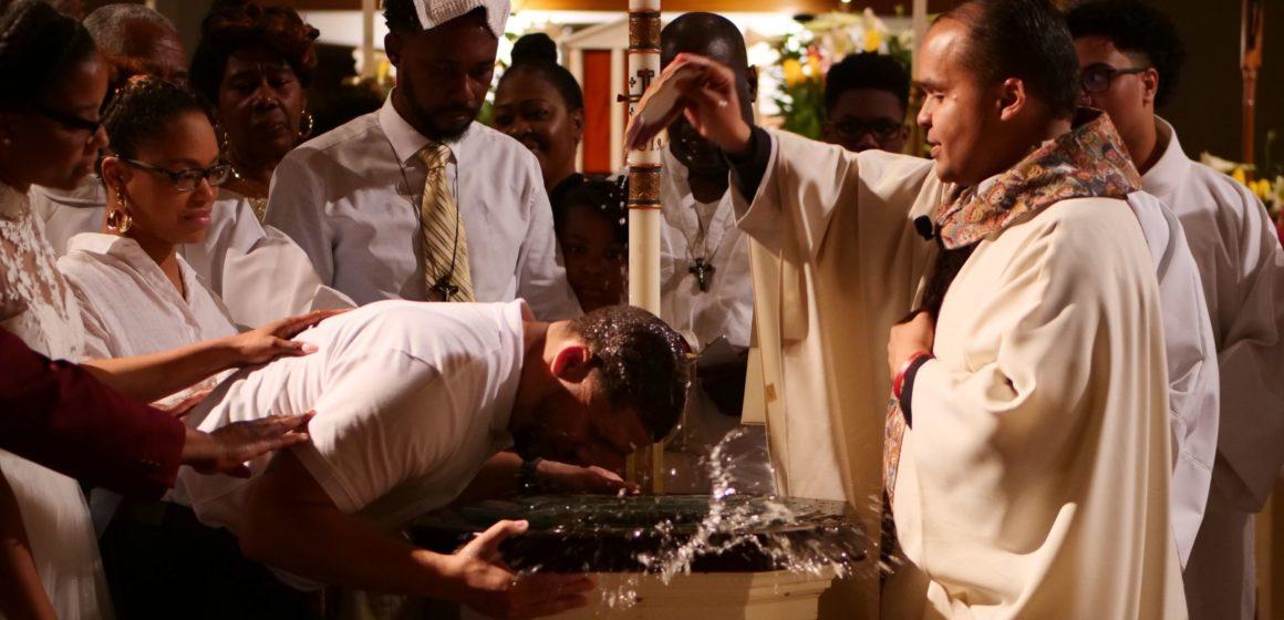 Baptsim with water splashing